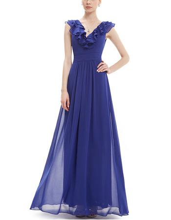 Vintage V-Neck Floor Length Blue Chiffon Ruffle Bridesmaid Dresses