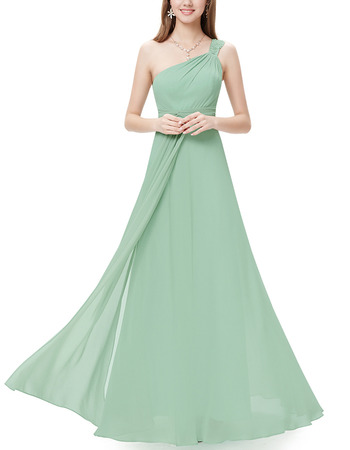 Elegant New Arrival Beaded One Shoulder Long Length Chiffon Bridesmaid Dresses