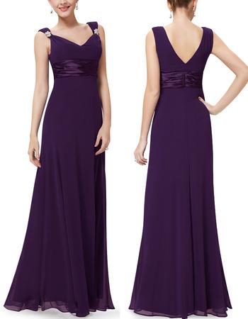 Affordable Elegant V-Neck Empire Full Length Chiffon Bridesmaid Dresses