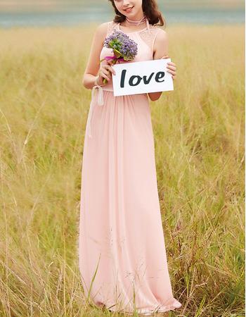 Feminine Jewel Neck Sleeveless Full Length Beaded Chiffon Bridesmaid/ Prom Dresses