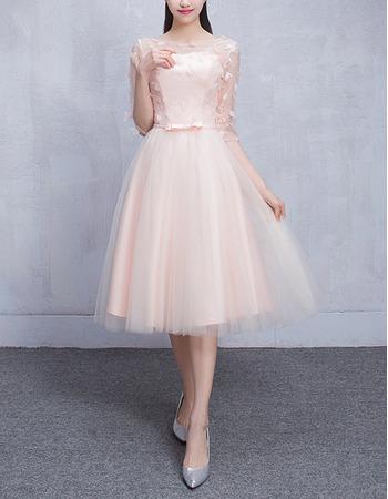 Feminine Illusion Neckline Knee Length Tulle Bridesmaid Dresses with Half Sleeves and Petal Detailing