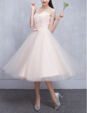 Beautiful One Shoulder Knee Length Tulle Pleated Bridesmaid Dresses with Satin Waistband
