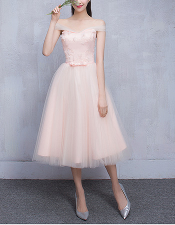 Simple Off-the-shoulder Knee Length Pleated Tulle Bridesmaid Dresses with Satin Waistband