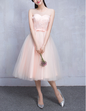 Discount Illusion Sweetheart Neckline Sleeveless Knee Length Pleated Tulle Bridesmaid Dresses