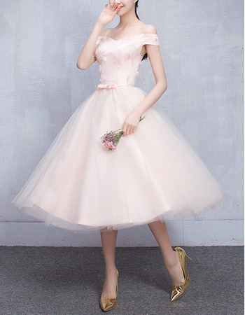 Discount Off-the-shoulder Knee Length Pleated Tulle Bridesmaid Dresses with Satin Waistband