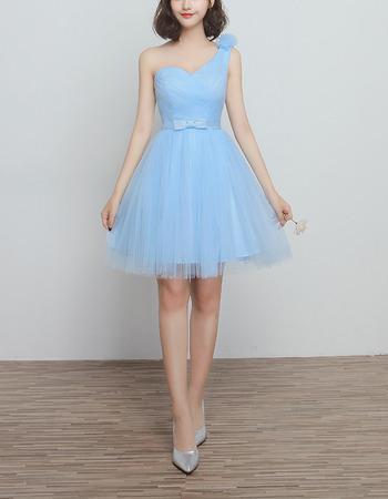 Elegant One Shoulder Knee Length Satin Tulle Ruched Bridesmaid Dresses Under 100