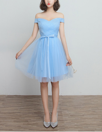 Discount Inexpensive Off-the-shoulder Sweetheart Knee Length Ruched Bridesmaid Dresses
