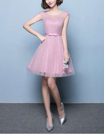 Inexpensive Illusion Neckline A-Line Sleeveless Short Tulle Pleated Bridesmaid Dresses with Bow