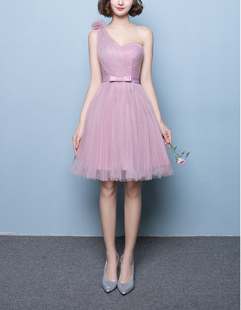 Inexpensive A-Line One Shoulder Short Tulle Pleated Bridesmaid Dresses with Satin Waistband