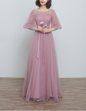 Amazing Long Length Tulle Ruched Bridesmaid Dresses with Half Illusion Sleeves