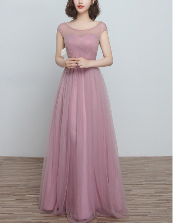 Inexpensive Illusion Sweetheart Neckline Sleeveless Full Length Tulle Ruching Bridesmaid Dresses