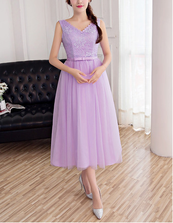 Inexpensive Double V-Neck Sleeveless Tea Length Tulle Lace Bridesmaid Dresses