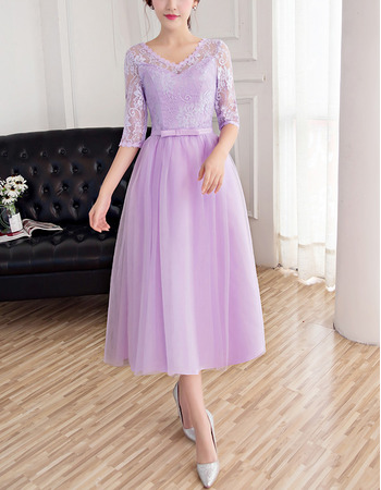Elegant Inexpensive V-Neck Tea Length Lace Tulle Bridesmaid Dresses with Half Sleeves