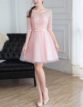Exquisite A-Line Illusion Neckline Mini/ Short Lace Tulle Bridesmaid Dresses with Half Sleeves