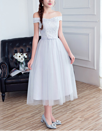 Inexpensive Ultra-feminine A-Line Off-the-shoulder Tea Length Lace Tulle Bridesmaid Dresses