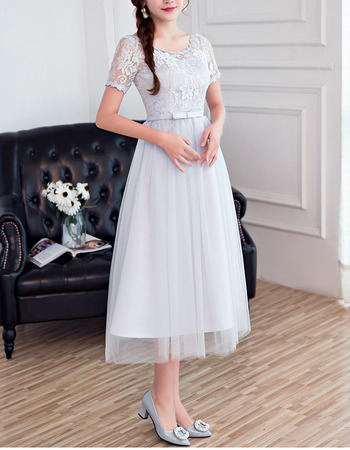 Affordable Understated Tea Length Lace Tulle Bridesmaid Dresses with Short Sleeves