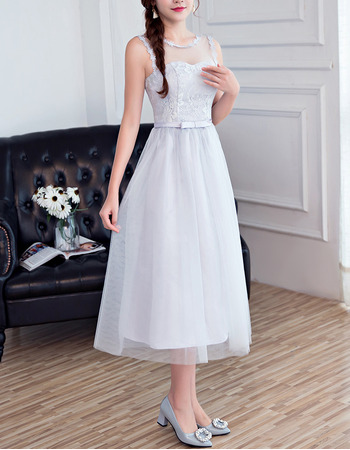 Elegant Simple Sleeveless Tea Length Satin Tulle Grey Bridesmaid Dresses with Beaded Lace Appliques