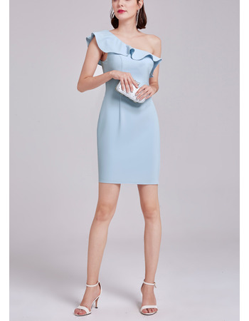 Ultra-feminine Simple Column/ Sheath One Shoulder Mini/ Short Satin Cocktail Party Dresses