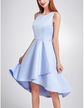 Simple Fashionable Asymmetric High-Low Satin Cocktail Party Dresses with Keyhole Cutout