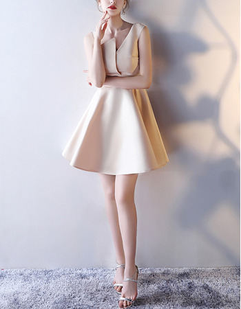 Stunningly Simple A-Line Asymmetric Mini/ Short Satin Cocktail Party Dresses