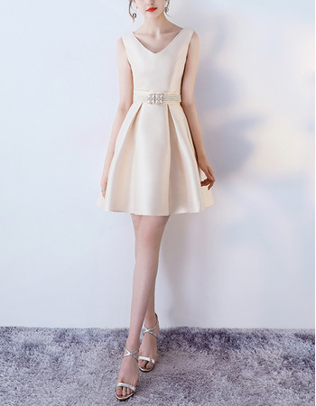 Feminine Petite Double V-Neck Mini/ Short Satin Cocktail Party Dresses with Beaded Waist