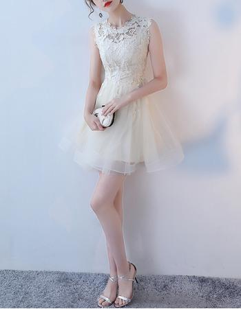 Discount Petite A-Line Illusion Neckline Sleeveless Mini/ Short Tulle Lace Cocktail Party Dresses