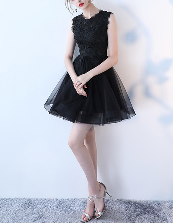 Affordable Sleeveless Mini/ Short Black Organza Lace Cocktail Party Dresses