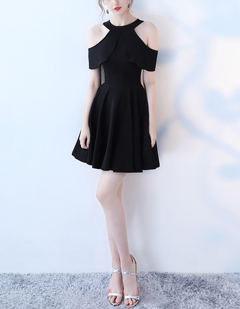 Modern Unique Chic Cap Sleeves Mini/ Short Satin Black Cocktail Party Dresses with Split Sleeve Sequin