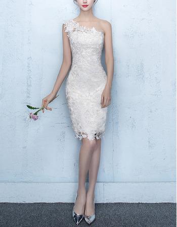 Elegant Romantic Sheath/ Column One Shoulder Mini/ Short Lace Cocktail Party Dresses