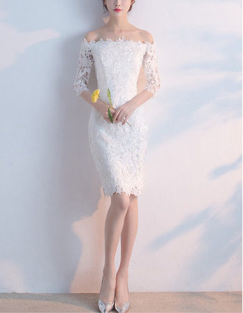 Elegant Off-the-shoulder Sheath Lace Cocktail Party Dresses with Half Sleeves
