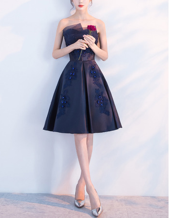 New A-Line Strapless Knee Length Satin Navy Blue Cocktail Party Dresses with Beaded Appliques