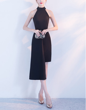 Simple Stylish Halter Mini/ Short Satin Black Cocktail Party Dresses with High Low Asymmetrical Hem