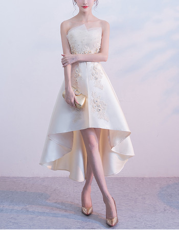 Charming Strapless Asymmetric High-Low Hem Satin Cocktail Party Dresses with Beaded Appliques and Organza Details