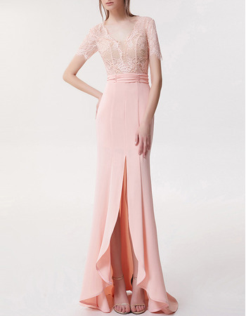New High-Low Chiffon Lace Evening Dresses with Short Sleeves