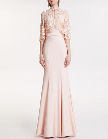 Custom Cold Shoulder Long Satin Evening Dresses with Short Sleeves