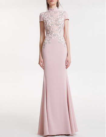 Sexy High Neckline Silk Like Satin Evening Dresses with Short Sleeves and Illusion Back