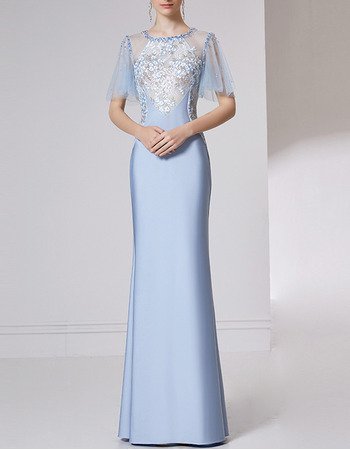 Enchanting Satin Evening Dresses with Short Tulle Sleeves and Beaded Applique Bodice