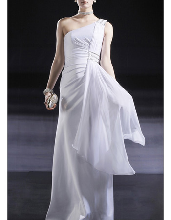 Sexy One Shoulder White Chiffon Evening/ Prom Dresses with Side Draped