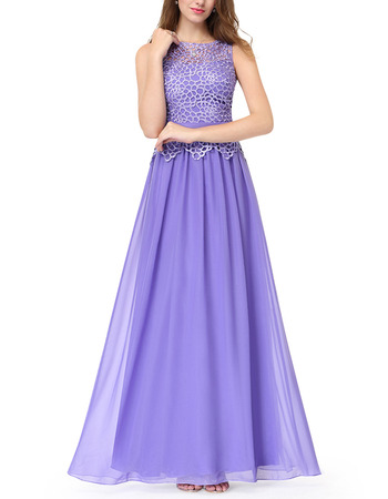 Elegant A-Line Floor Length Chiffon Evening Dresses with Lace Top