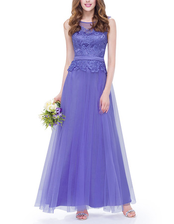 Discount A-Line Sleeveless Ankle Length Tulle Lace Evening Dresses