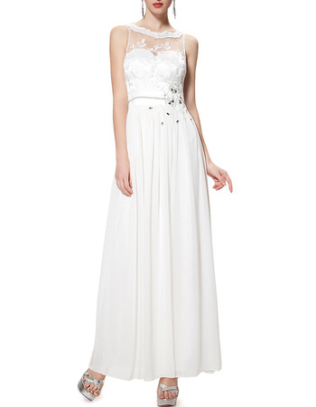 Dramatic Illusion Back Sleeveless Ankle Length White Chiffon Evening Dresses with Beaded Applique