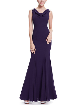 Affordable Mermaid Cowl Neck Long Length Chiffon Formal Evening Dresses