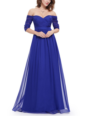 Sexy Off-the-shoulder Ruched Chiffon Evening Dresses with Half Sleeves