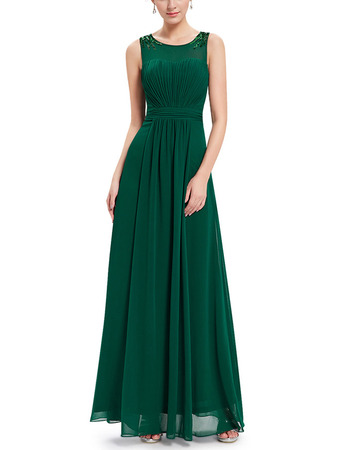 Simple Illusion Neckline Pleated Chiffon Evening Dresses with Keyhole Back