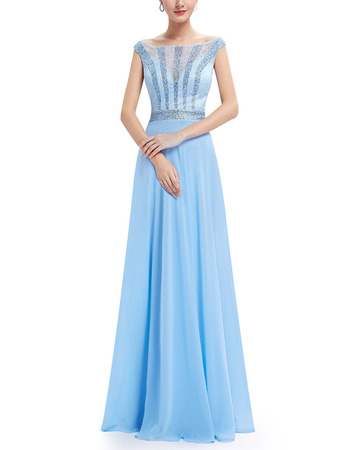 Dramatic Bateau Neckline Chiffon Prom Evening Dresses with Lace Bodice and Beading Detail