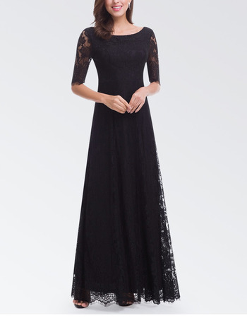 Elegant Black Lace Evening Dresses with Half Sleeves and Strappy Back
