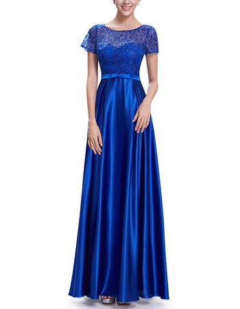 Simple Full Length Evening Dresses with Sequined Lace Bodice and Short Sleeves
