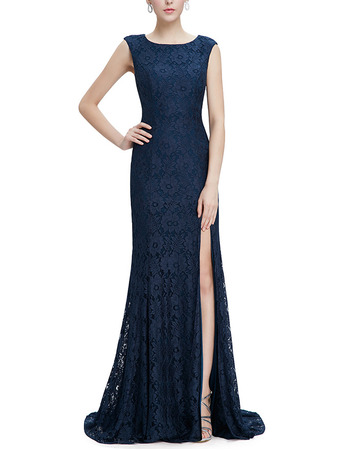 Elegance Sheath Sleeveless Floral Lace Evening/ Prom Dresses with Side Slit