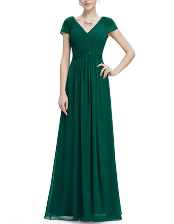 Inexpensive V-Neck Long Chiffon Evening Dresses with Short Sleeves