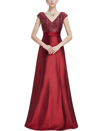 Modern V-Neck Floor Length Sequined Bodice Evening Dresses with Cap Sleeves